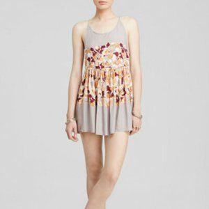 FREE PEOPLE Floral Voile Shortie Slip Dress Grey-S